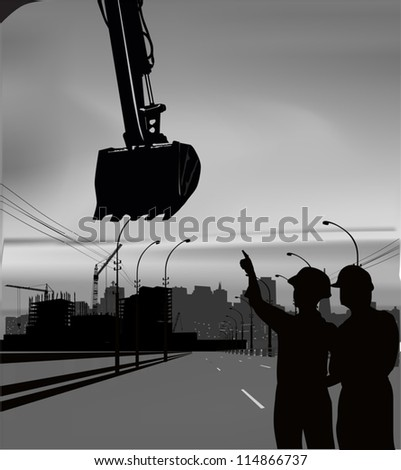 illustration with digger and house building - stock vector