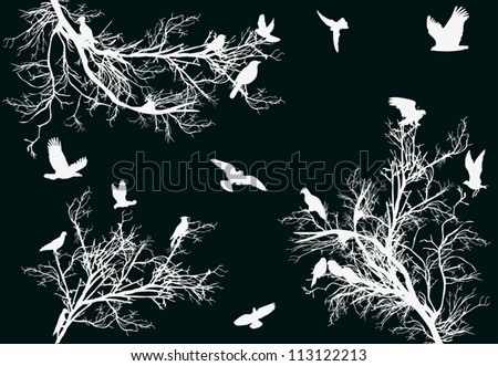 illustration with flying bird between trees - stock vector