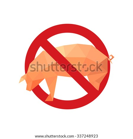 Illustration with forbidden icon and origami pig isolated on white background - stock vector