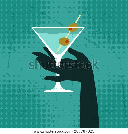 Illustration with glass of martini and hand. - stock vector