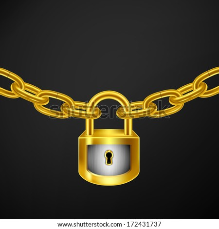 Illustration with golden lock and chain.Best protection concept. - stock vector