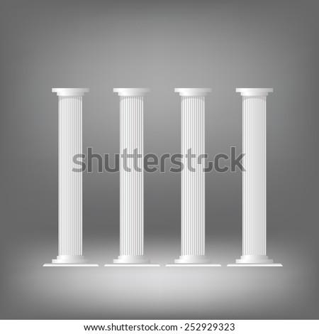 illustration  with greek columns on dark background - stock vector