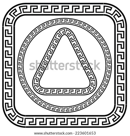 illustration with greek meander patterns on a white background - stock vector