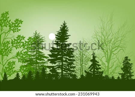 illustration with green forest and sun in sky - stock vector