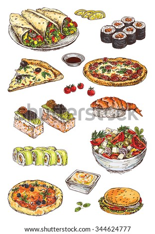 illustration with hand drawing set of pizza, sushi and sandwich - stock vector