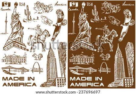 illustration with hand drawings attractions of America - stock vector