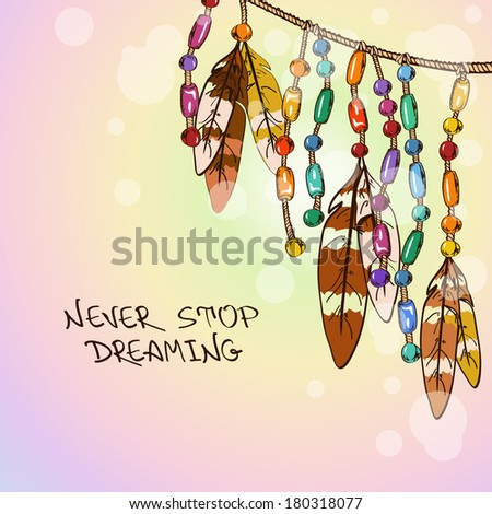 Illustration with hanging bird feathers and colorful bijouterie - stock vector