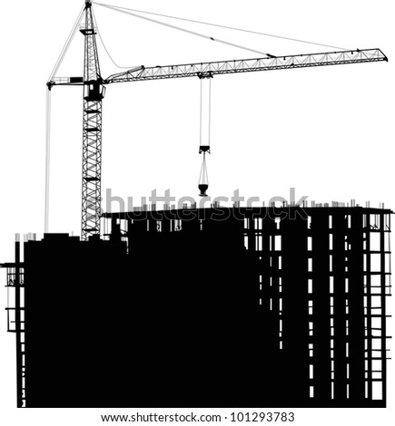 illustration with house building and crane - stock vector