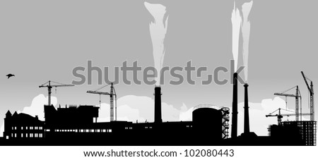 illustration with industrial building and cranes - stock vector