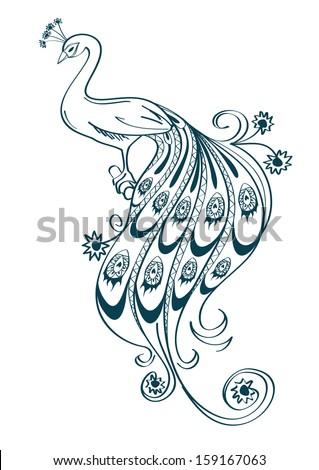 Peacock body outline - photo#16