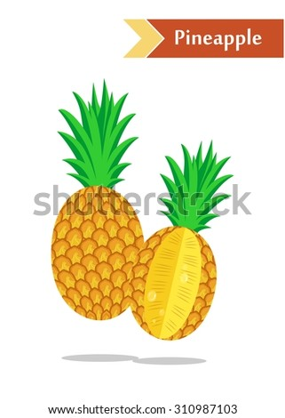 illustration with juicy and tasty fruits -  pineapples. - stock vector