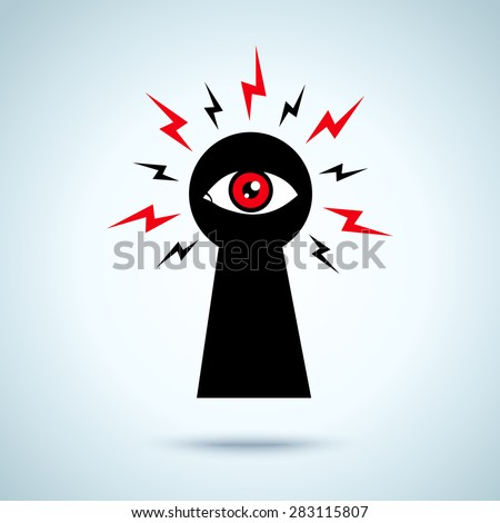 Illustration with keyhole and eye - stock vector