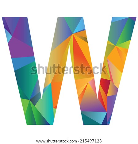 illustration with letter W of different colors on a white background - stock vector