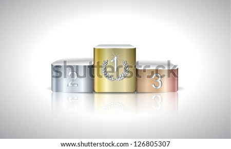 Illustration with metal prize podium on light background - stock vector