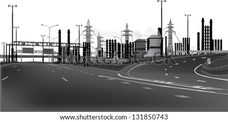 illustration with modern highway isolated on white background - stock vector