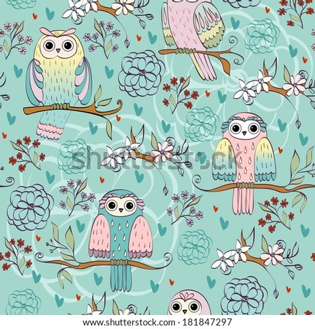 illustration with owl sitting on the branches - stock vector