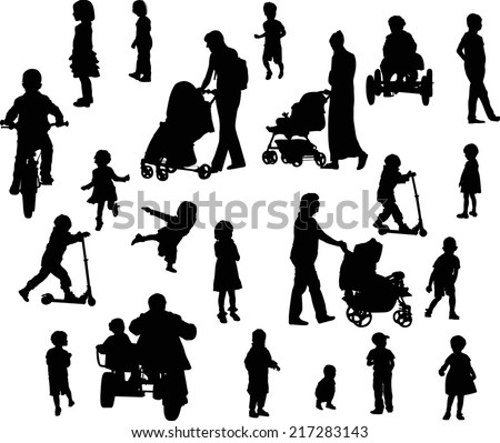 illustration with parents and children silhouettes isolated on white background - stock vector