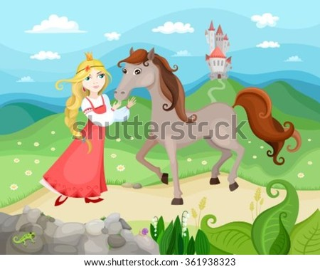 illustration with princess, horse and castle - stock vector