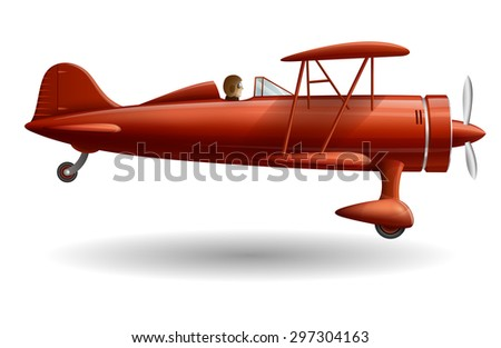 Illustration with retro red plane, EPS 10 contains transparency. - stock vector
