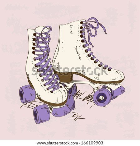 Illustration with retro roller skates on a grunge background - stock vector