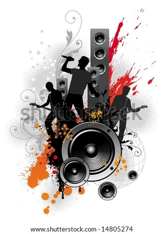 Illustration with rock band - stock vector