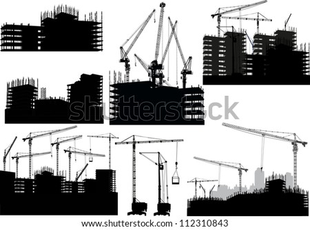 illustration with set of buildings and cranes - stock vector