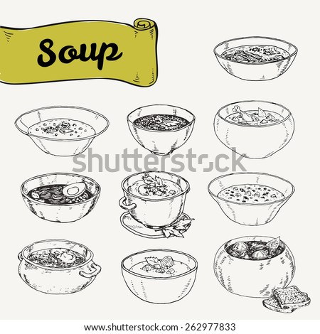 illustration with set of different soups cuisines. Vector illustration drawn by hand, graphics - stock vector