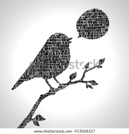 Illustration with silhouette of bird - stock vector