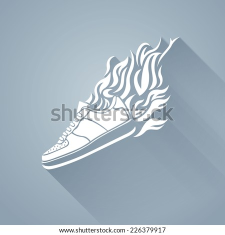 illustration with silhouette of running shoe icon on a white background - stock vector