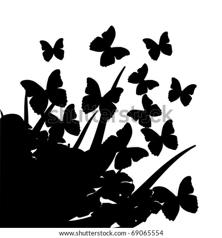Illustration with silhouettes of butterflies, flowers and grass - stock vector