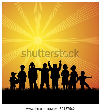 Illustration with silhouettes of children. Eight children have been on the grass. Above them shines the bright sun. - stock vector