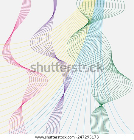 illustration with smooth flexible curved motley colored lines set isolated on grey background for use in design - stock vector