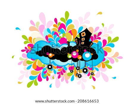 Illustration with speakers. Vector - stock vector