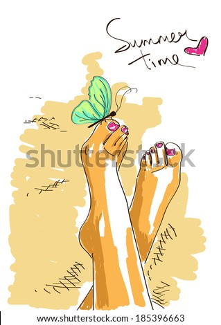 Illustration with sunburn bare feet of girl in relaxed pose - stock vector
