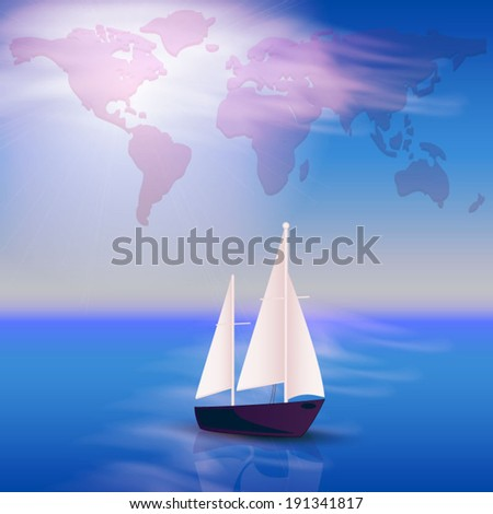 Illustration with the ocean and yacht - stock vector