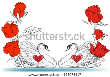 illustration with two swans and red roses on white background - stock vector
