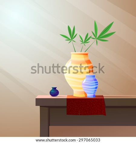 Illustration with vases. Vector - stock vector