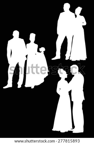 illustration with wedding couples isolated on black background - stock vector
