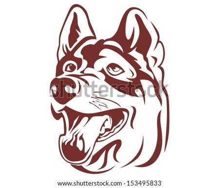 illustration wolf head - stock vector