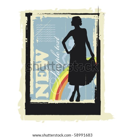 Illustration woman's silhouette. Behind them is a rainbow. Near this area there are a field for text. - stock vector