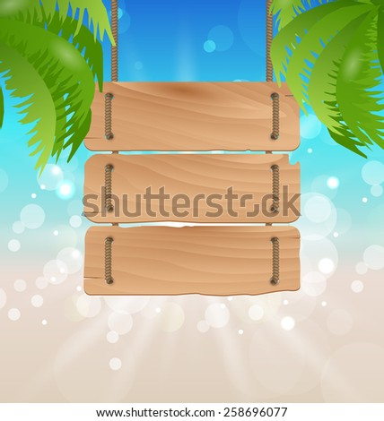 Illustration wooden signboard on tropical beach - vector - stock vector