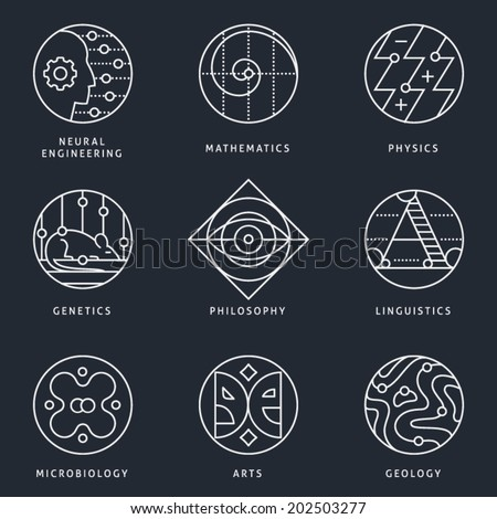 Illustrations and logo templates of fundamental science disciplines, research and education. Language, Biology, Genetics, Physics, Arts, Geography, Mathematics, Philosophy. Detailed vector icons set. - stock vector
