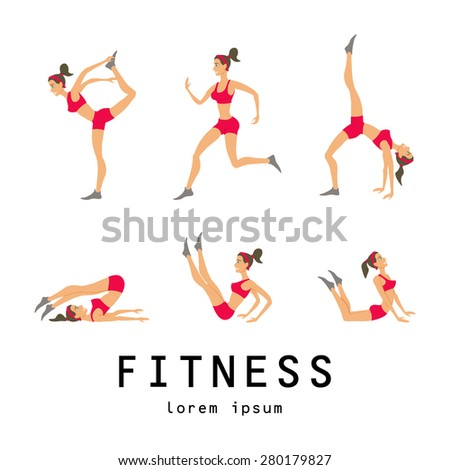 illustrations of basic stretching exercises related to jogging performed by a beautiful brunette - stock vector
