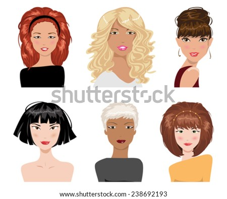 illustrations of beautiful young girls with various hair style - stock vector
