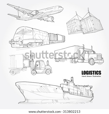 illustrations of logistics. drawing vector - stock vector