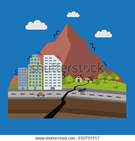 illustrations of natural disasters, earthquake - stock vector
