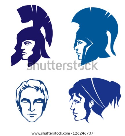 illustrations of people of Ancient Greece or Rome - stock vector