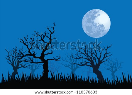 illustrations of spooky full moon night. - stock vector