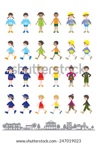 Illustrations of various people / Children - stock vector