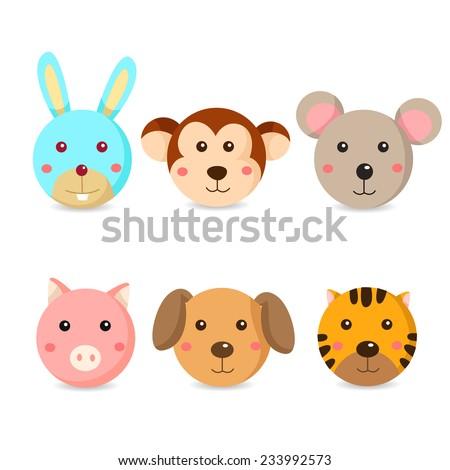 Illustrator of animal face  - stock vector